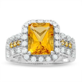Emerald Cut Citrine and Lab Created White Sapphire Ring in 14K White