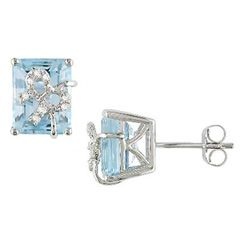 Emerald Cut Blue Topaz and Diamond Bow Earrings in Sterling Silver