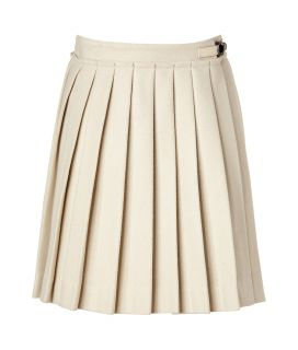 Mulberry The Polly Push Lock Winter White Herringbone Wool Skirt