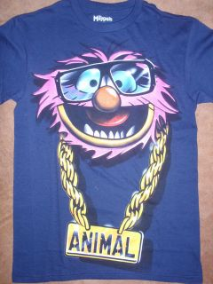 Mens Muppets Animal Bling Gold Chain Sunglasses T Shirt New with Tags