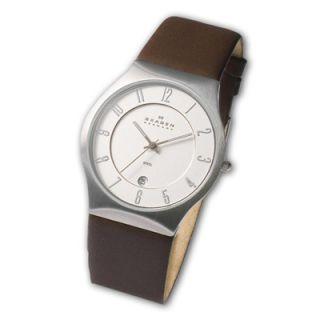 Mens Skagen Stainless Steel Brown Leather Strap Watch (Model