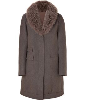 Brunello Cucinelli Taupe Wool Cashmere Blend Coat with Removable Fur