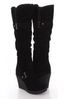 Black Faux Suede Slouchy Strapped Wool Trim Knee High Wedge Boots