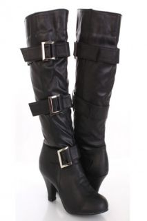 Black Faux Leather Buckle Strapped AMIclubwear Boots @ Amiclubwear
