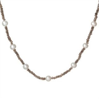 Dower & Hall Smokey/White Pearl Quartz Faceted Bead Necklace