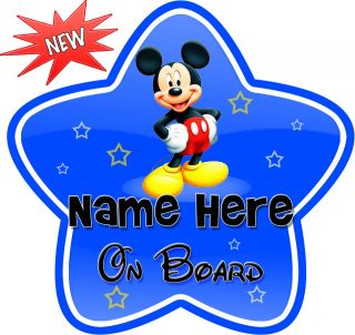 Personalised Mickey Star Shaped Child/Baby on Board Car Sign New