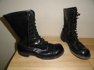 Vintage Black Leather Mens CORCORAN COMBAT BOOTS Size 10E Made In