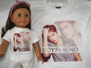 JUSTIN BIEBER BOYFRIEND T shirt, American Girl Doll and/or GIRLS size