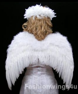 White feather wings w/elastic halo angel fairy dove swan stage costume