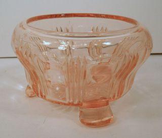 VINTAGE PINK DEPRESSION GLASS FOOTED ROSE BOWL/ VASE / DRESSER BOX