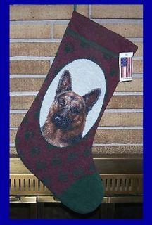 LOT of 2 LG GERMAN SHEPHERD K9 Police Dog Tapestry CHRISTMAS Stocking