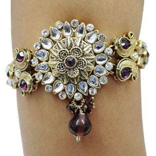 Antique Gold Tone Purple CZ Wedding Arm Bracelet Traditional Jewelry