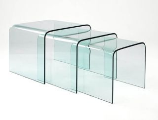 Glass Waterfall Style Sofa End Tables   Nest Of Three