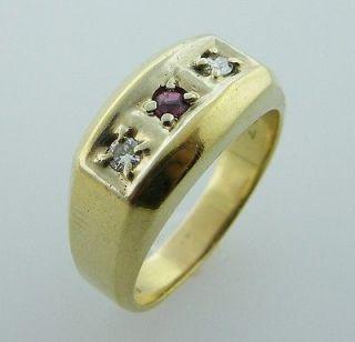 Vintage Estate Jewelry 14K Gold Diamond Ruby Mens Ring