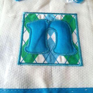 NEW Mud Pie MONOGRAMMED Initial  n  BABY Boy Burp Cloth Ribbon Trim