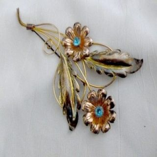 Silver Van Dell Multi Color Gold Turquoise RS Floral Brooch Pin