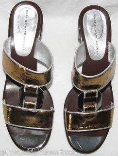 MARC by MARC JACOBS GOLD & SILVER SLIDE SANDALS SIZE 41 EUR