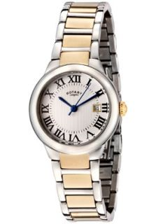 Rotary LB02525/01 Watches,Womens Silver Textured Dial Two Tone