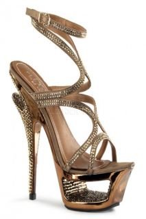 Bronze Satin Rhinestone Ankle Wrap Strappy Sandal Heels @ Amiclubwear