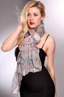 Grey Multi Sheer Printed Design Stylish Scarf @ Amiclubwear scarf