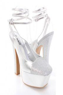 Silver Metallic Faux Leather Glitter Platform Heels @ Amiclubwear Heel