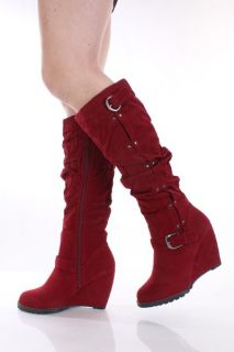 Red Faux Suede Slouchy Buckle Accent Wedge Boots @ Amiclubwear Boots