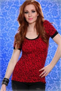RED LEOPARD PRINT SCOOP NECK RUCHED SHORT SLEEVE TOP @ Amiclubwear Top