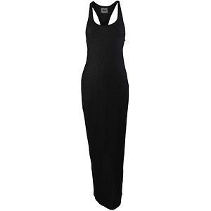 WOMEN LONG MAXI TANK TOP DRESS WITH RACER BACK BLACK SMALL (SALE)