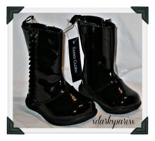 NWT adorable FADED GLORY DASH Patent Leather RUFFLE BOOTS SZ3,4,5,6