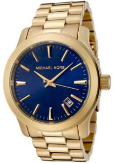 Michael Michael Kors MK7049 Watches,Mens Blue Dial Gold Tone