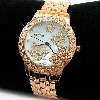 ROSE/GOLD 3D Butterfly Dial Crystal Bezel Geneva Designer Style Women