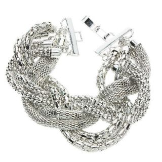 pave Three strands of braid white gold plated Chain Linked Bracelet