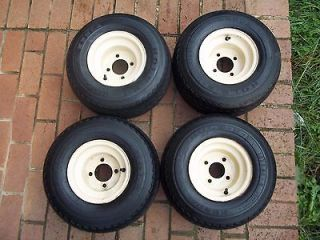 Beige 4 Golf Cart Wheels and Tire Set ClubCar Yamaha EZGO Hole N 1