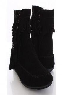 Home / Black Faux Suede Fringe Tassel Stitch Flat Moccasin Ankle