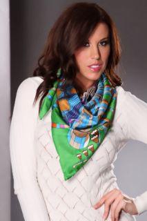 Green Multi Psychedelic Clock Printed Silk Scarf @ Amiclubwear scarf