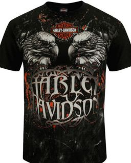 Harley Davidson Mens Eagle Power All Over Print Black Biker T Shirt