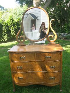 ANTIQUE CIRCA 1930S OAK DRESSER WITH SERPENTINE MIRROR