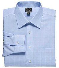 Traveler Tailored Fit Spread Collar Glen Plaid Dress Shirt