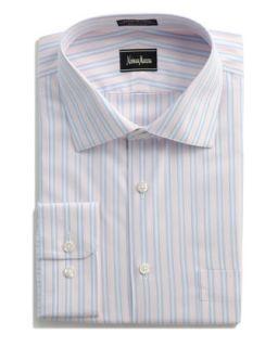 No Iron Striped Dress Shirt, Pink/Blue