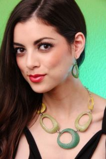 Home / GREEN CUT OUT DESIGN TEXTURE POLISH EARRINGS NECKLACE SET