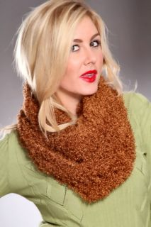 Brown Fuzzy Plush Eternity Scarf @ Amiclubwear scarf Online Store