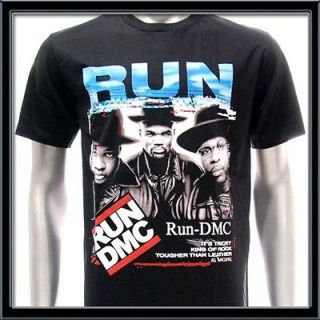 Sz L Run DMC T shirt Hip Hop Group Band Rap King Rapper Black