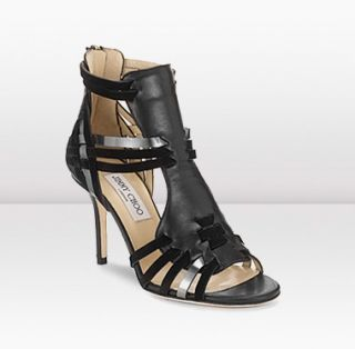 Jimmy Choo  Margy  Matt Leather and Mirror Leather Sandals