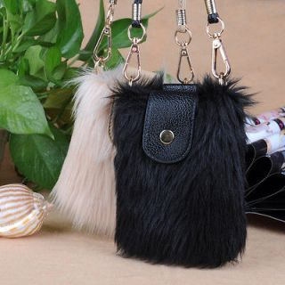 Girl Cute Faux fur Bag Wallet Elegant Case for Sumsang for Iphone 4 4s