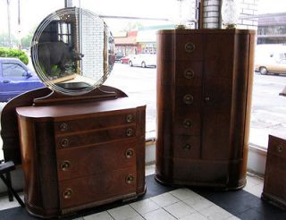 ART DECO FULL 4 PIECE ANTIQUE BEDROOM SET   Made by Mines Brothers Inc