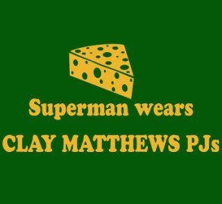 987 CLAY MATTHEWS PJS Green Bay Packers cheese hat MENS T SHIRT