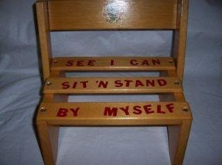 WOOD STEP STOOL SEAT CHILDREN KIDS TODDLER VINTAGE PRE SCHOOL SOLID