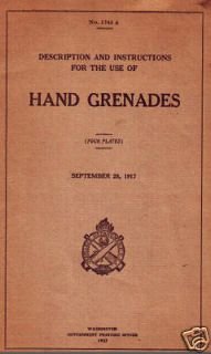 MARK 1 HAND GRENADE MANUAL WW1 REFERENCE