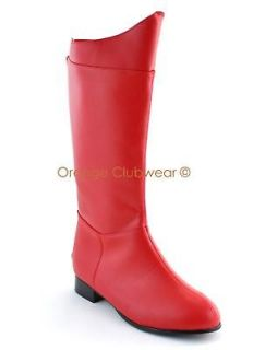MENS Red Comic Superhero Knee High Costume Boots Halloween Boots Shoes