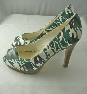 WOMENS SILVANO GORE COLLECTION GREEN CAMO NON SLIP HIGH HEELS 8M FREE